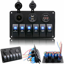 12V/24V Waterproof Boat Marine 6 Gang LED Rocker Switch Panel Circuit Breaker