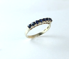 7 Sapphire Band Ring 14k Yellow Gold Size 7