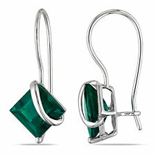 Amour 10k White Gold Created Emerald Earrings