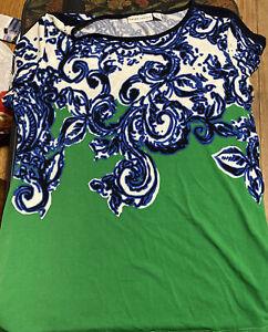 Susan Graver Womens Printed Liquid Knit Top Black Green Blue Size Medium Stretch