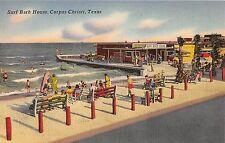 Corpus Christi Texas Surf Bath House People In View Antique Postcard V5854