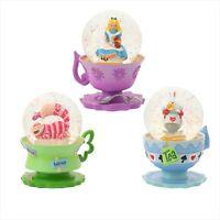 Disney Store Japan 25th Anniversary Alice In Wonderland Snow Dome Globe set 3