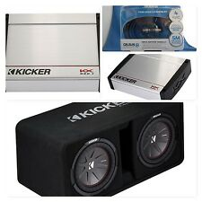 "BIG BASS PACK KICKER KX800.1 Amp, CompR Dual 12"" Vented Enclosure and Wiring Kit"