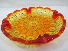"""Vintage LE Smith Moon and Stars Amberina Glass 8.5 """" Round Ashtray"""