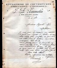 """MEAULNE (03) COUVERTURE ZINGUERIE """"J.B. PAUMELIN"""" en 1912"""