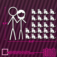 Crazy Stick Figure Couple With CATS - vinyl decal sticker funny family cat girl
