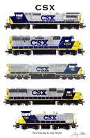 "CSX YN2 Locomotives 11""x17"" Poster by Andy Fletcher signed"
