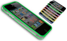 BUMPER COVER CASE FLIP COMPATIBILE IPHONE 5 RIGHE BICOLORE TRASPARENTE VERDE