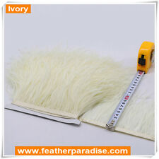 Ivory Ostrich Feather Trims Fringes Tapes Sewn on Feather 1 Yard