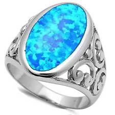 OVAL BLUE FIRE LAB OPAL_FILIGREE OPEN-WORK ON BAND_925 STERLING SILVER__SIZE 6