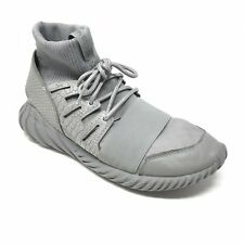 Men's Adidas Tubular Doom Shoes Sneaker Size 11 Gray Silver High Top Running AE6