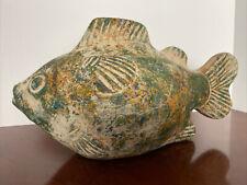 12� Vintage Terracotta Koi Fish Sculpture Green, Orange, Blue