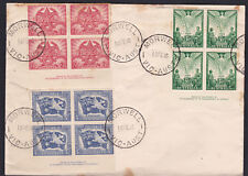 1946 Australia WWII Peace Victory FDC Cover Imprint Blocks of 4 - Imperfections