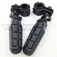 "Black 1-1/4"" Universal Highway Short Angled Foot Pegs Footpeg Mount For Harley"
