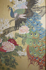 "Large 42"" Vtg Chinese Painting On SILK - Peacocks and Peonies -> Wealth - Signed"
