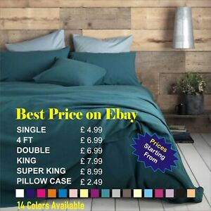 Full Fitted Sheet Bed Sheets 100% Poly Cotton Single 4Ft Double King Super King