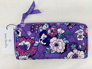 Vera Bradley Accordion Wallet Zip Around Clutch Enchanted Garden Purple $65 NWT
