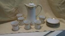 Vintage Nippon White Hand Painted Tea Set 12 Piece Floral Gold Trim