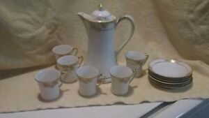 Vintage Nippon White Hand Painted Tea Set 12 Piece Floral Gold Trim