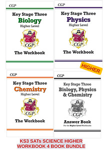 KS3 HIGHER SCIENCE PHYSICS BIOLOGY CHEMISTRY 3 WORK BOOKS PLUS ANSWERS TOGETHER