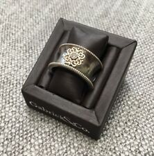 Gabriel& Co Sterling Silver Diamond Filigree Antique Style Cigar Band Ring 6.75