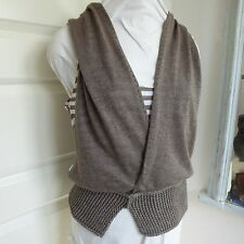 CREA Concept Stripe Knit Tank Top Hoodie Layered Quirky Lagenlook Artsy 38 10 12