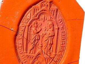 Antique WALLSINGHAM Vesica Shaped Medieval Wax Seal Impression #ES8