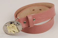 Pink ~GIRL'S WESTERN BELT~ Tooled Leather-Buckle-Cowboy