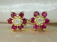 2.00Ct Round Cut Pink Sapphire Halo Stud wedding Earrings 14k Yellow Gold Over