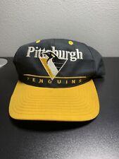 Vintage Pittsburgh Penguins NHL Spell Out Split Bar Snapback Hat 90s