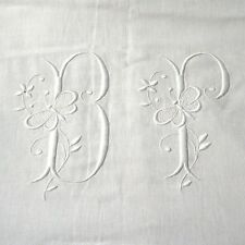 "Antique French Sheet Monogrammed ""BP"" Butterfly Embroidered Ladderwork 128 x 92"""