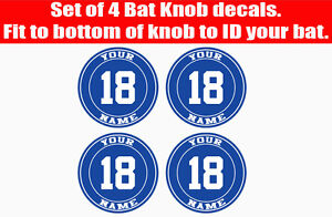 Baseball Softball Bat Knob Decal Set - Baseball Bat Decal - Baseball Bat Sticker