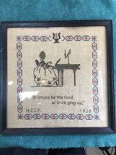 """Beautiful 1928 Antique 15""""x15"""" Cross Stitch Sampler. 89 Years Old."""