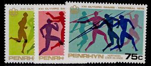 COOK ISLANDS - Penrhyn Island QEII SG93-95, 1976 olympic games set, NH MINT.