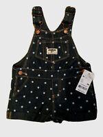 New Oshkosh B'Gosh Baby 9 m Girl Denim polka dots Shortall Overalls Vestbak $32.