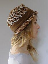 Vintage retro true 1940s brown faux leopard fur suiter top hat