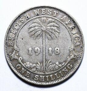 1918, British West Africa,1 Shilling, George V, Silver, VG, KM# 12, Lot [1718]