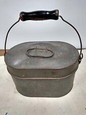 Miner's Antique Lunch Pail Bucket - Steel, Deep Oval,