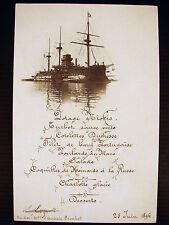 Menu Escadre de Réserve Richelieu 25 juin 1896 Madame Amiral Prouhet