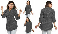 UK STOCK - Women Fashion Indian Top Kurti Tunic Kurta  Shirt Dress Black SC2411