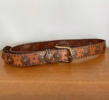 Vintage 'NANNI' (Versace DESIGNER) Tan LEATHER Studded BOHO Cowboy WESTERN Belt