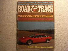Road & Track February 1971 Mercury Capri VW 411 Opel Peugeot 1971 Duesenberg
