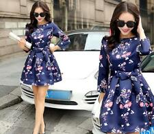 Korea women round collar floral Nine points sleeve sweet bowknot short dress R73