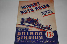 Midget Auto Races Program, San Diego Balboa Stadium, Sept 25 1946, Original