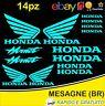 Kit 14pz. adesivi replica Honda Hornet moto casco colore Celeste