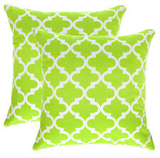 TreeWool 2 Pack Cushion Covers Trellis Accent in Cotton Canvas 45 X 45 Cm Gree