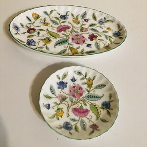Minton Haddon Hall Green Edge Tray Pin Dish 2 Items Collection Signed Floral