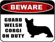 Beware Guard Welsh Corgi (silhouette) on Duty Laminated Dog Sign