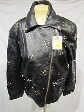 POSITANO PELLE SOFT LEATHER JACKET MOTORCYCLE BLACK ZIPPER GOLD STUDS SZ M