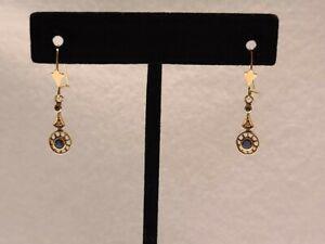 Antique 10k Yellow Gold Blue Sapphire Mine Cut Diamond Dangle Earrings Art Deco